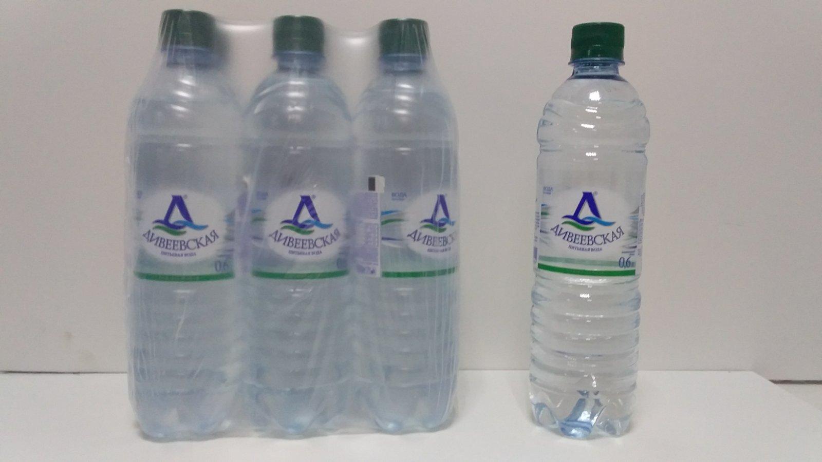 Упаковка Дивеевской воды 0,6 л в ПЭТ бутылках